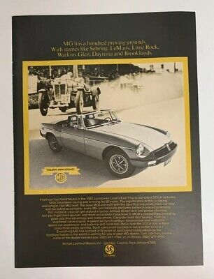 1975 MG Convertible Print Ad Golden Anniversary 1925 Proving Grounds MGB