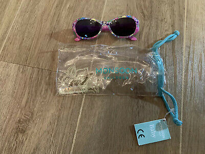Monsoon Children Baby Girls Sunglasses Tropical Floral Print Pink With Case