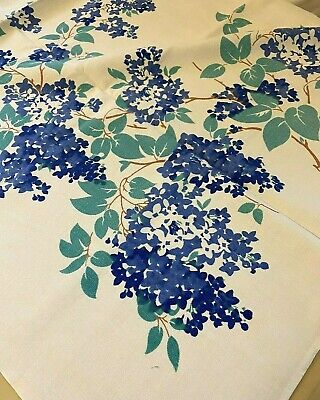 Vintage 50's Light and Dark Blue Lilacs Print Tablecloth 46 c 50