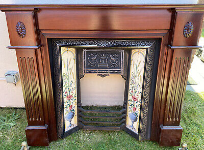 Antique Victorian/Edwardian cast iron fireplace with  mahogany surround