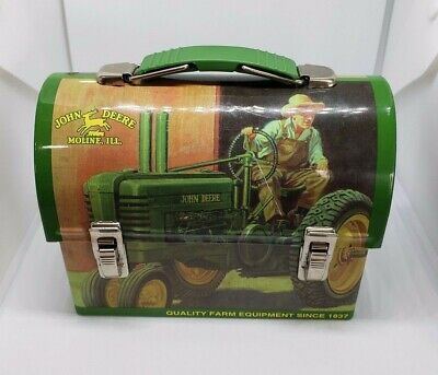 John Deere Mini Lunch Box Candy Tin Can with Handle Moline IL.