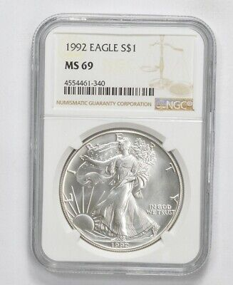 MS69 1992 American Silver Eagle - Graded NGC *473