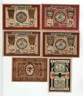 "1921 Frose Anhault Germany Notgeld - set of six different notes 3 1/4"" #3"