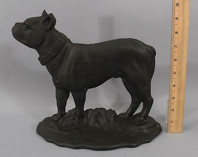 RARE Large Antique Cast Iron Flat-Back BOSTON TERRIER Dog Doorstop, No Reserve