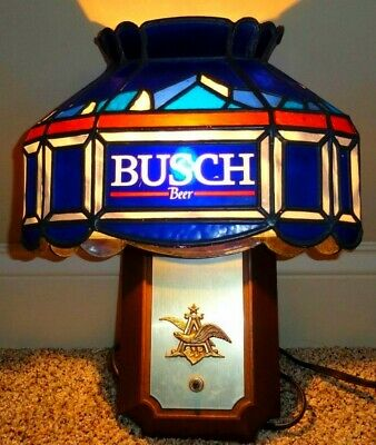 Vintage Busch Beer Lighted Sign Tiffany Faux Stain Glass Pub Light, Super Cool!