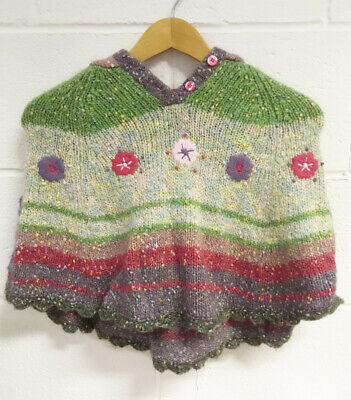 Next Kids Wool Green Pink Hooded Poncho - Age 4-5