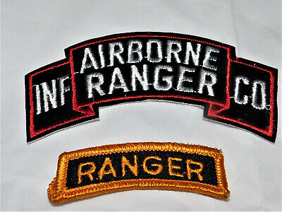 """""""INF. AIRBORNE RANGER CO."""" & RANGER Army patches in nice shape"""
