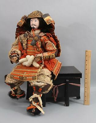 Antique Signed Edo c.1840 Musha Ningyo Japanese Gofun Samurai Warrior Doll