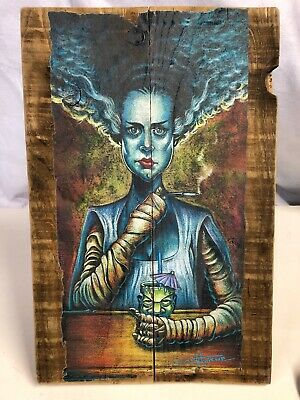 "The Bride of Frankenstein Silk Screen On Wood Print 17.5"" X 11.5 Wall Art S4"