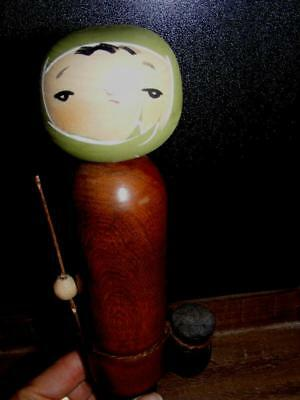 RARE ANTIQUE JAPANESE KOKESHI Wooden FISHERMAN Doll signed FISHER Girl Vintage