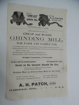 c.1905 A H Patch Tennessee Grinding Mill Advertising Leaflet Clarksville Antique