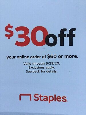 Staples Coupon $30 Off Online Order Of $60 Or More Exp. 6/29/2020