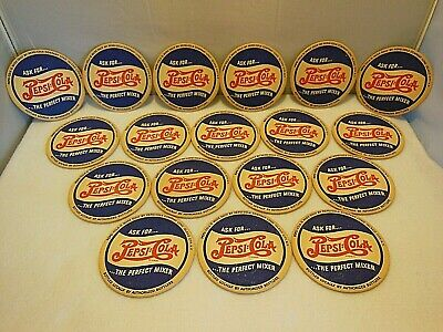 18 Nos Vintage Advertising Pepsi Cola Double Dot Coasters Long Island Ny