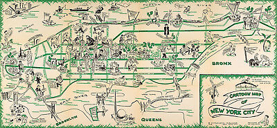 Early Pictorial Cartoon Map of New York City Vintage Wall Art Poster History