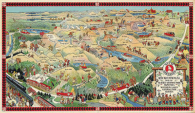 1925 Pictorial Map National Park Montana Vintage History Wall Art Poster Decor