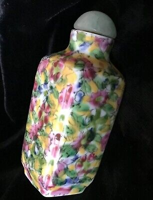 Antique Qing Dynasty Chinese Porcelain Snuff Bottle Jade Stopper Pink Blossoms