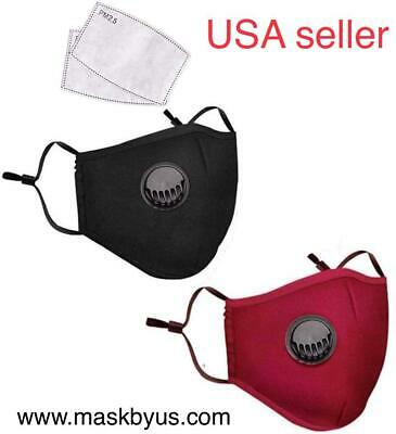 Cotton cloth Mask PM 2.5 with valve, filter free washable reusable