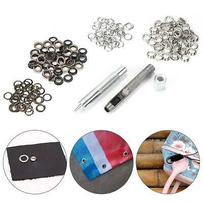 3pcs Eyelet Punch Die Tool Kit +100 Brass Eyelets 8mm -Hole Makers/Leather Craft