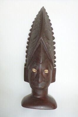Tribal Wood Shell Eyes Statue Décor Display