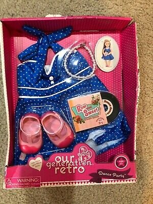 Our Generation Retro Outfit Dance Party Dress Shoes jewelry Fits 18 inch dolls