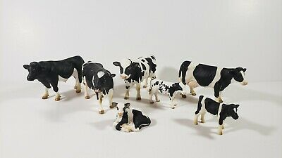Schleich Lot 7 COW BULL CALF BLACK & WHITE HOLSTEIN Animal Figure