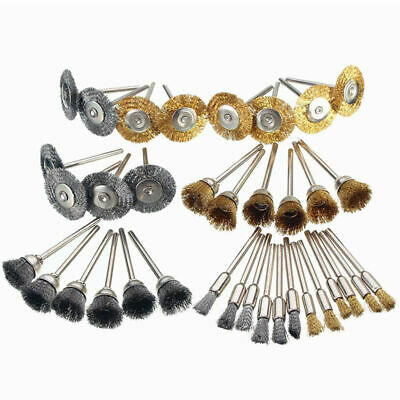 36pcs Wire Steel Brass Brushes Polishing Brush Wheels for Dremel Rotary Tool R3Q