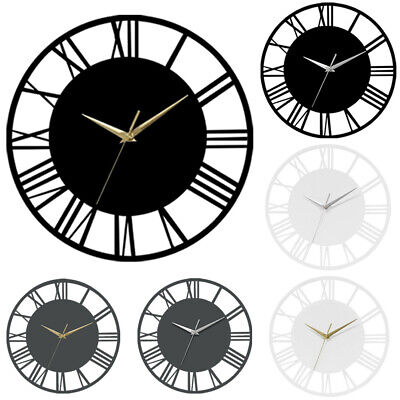 12inch Round Roman Numeral Wall Clock Skeleton Quartz Clocks Indoor Outdoor Deco