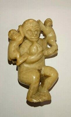 Antique Chinese carved stone statue of a mother Monkey & 2 young, Qing Dynasty?