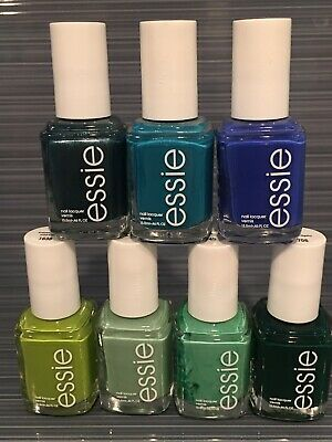 Essie Nail Polish lot of 7 Blue And Green Shades, Full Size, Brand New
