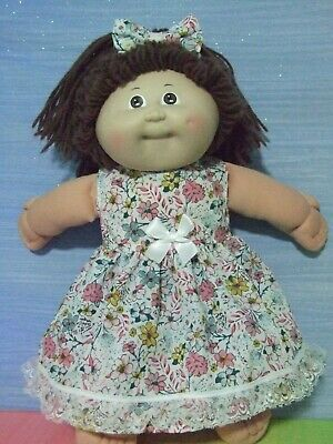 "16"" CABBAGE PATCH Dolls Clothes / DRESS & HEADBAND / pink yellow blue flowers"