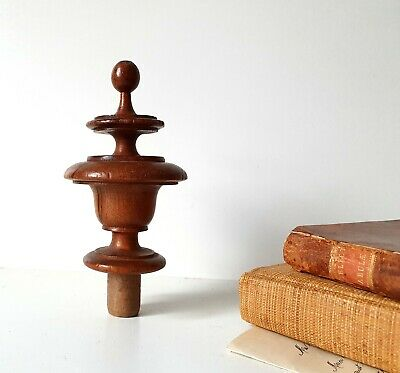 Antique French turned wood post finial end Salvage for Furniture Bed Clock 4.57""