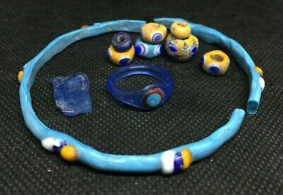 Celtic La Tene Culture Glass Jewellery Set- Ring, Bracelet And Beads - 300 Bc