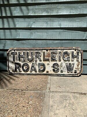 Original Antique London Street Road Sign Very Heavy Cast S.W Thurleigh Road