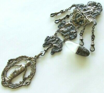 Victorian Antique   Silver  Chatelaine, Sewing  Buckle, Belt Hook, Clasp