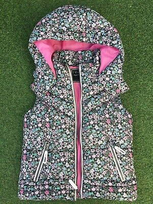 Next Girls 9 Years Floral Zip Up Padded Waistcoat Gilet Body Warmer With Hood