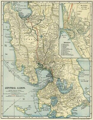 LUZON Philippines Map: Authentic 1903 (Dated) Towns, Cities, RRs: Manila Inset
