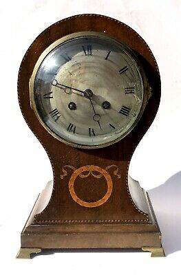 French Antique Japy Freres & Cie Mahogany Inlaid Balloon Clock FOR RESTORATION