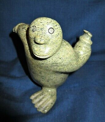 Inuit Carved Stone Strange Looking Seal