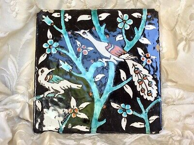 Antique Tile Black Ground Two Birds Peacock Turquoise Blue Flower Tree