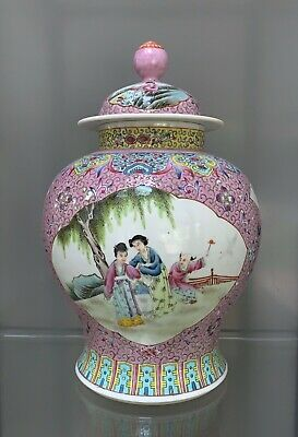Large 34cm Chinese hand painted vase
