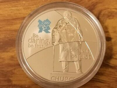 2010 UK CuNi Proof five pound £5 coin in Winston Churchill