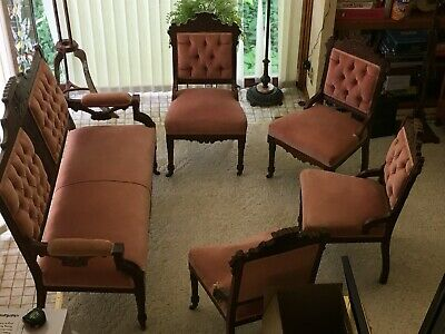 Victorian Parlor Set with Settee + 4 Chairs Local PU or Buyer pays shipping