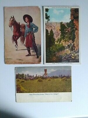 Vintage Post Cards Western Scenes Lot of 3