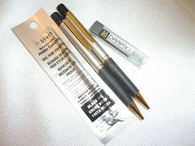 sanford silhouette ball point pen and mechanical pencil set new w/ replacement