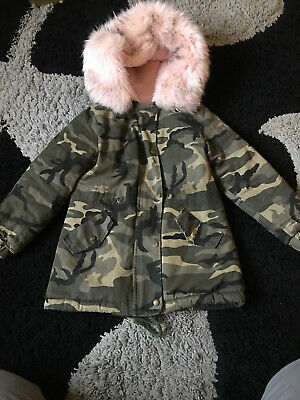Girls Age 4 Camo Parka With Very Thick Fur Hood From Boohoo