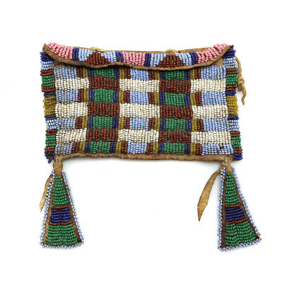LOW RESERVE SOLD AS IS Plains Style Beaded Bag with Early Beads and SInew