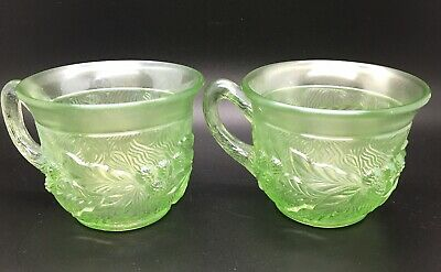 Northwood Antique Carnival Glass ICE GREEN 2 Acorn Burr punch cups *RARE*