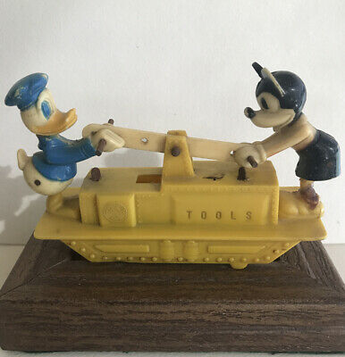 Marx DISNEY 1955  windup toy MICKEY MOUSE and DONALD DUCK HAND CAR  (only)