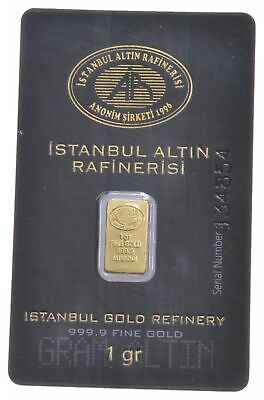 1 Gram 999.9 Fine Gold Bar - Istanbul Gold Refinery Gold Coin *405