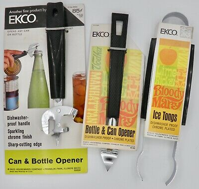 Nos Vintage Lot Of 3 Ekco Barware Tools Can & Bottle Opener Ice Tongs Usa